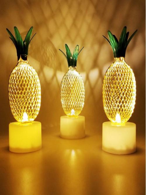 Dekoratif Ananas Tasarımlı Pilli Led Lamba