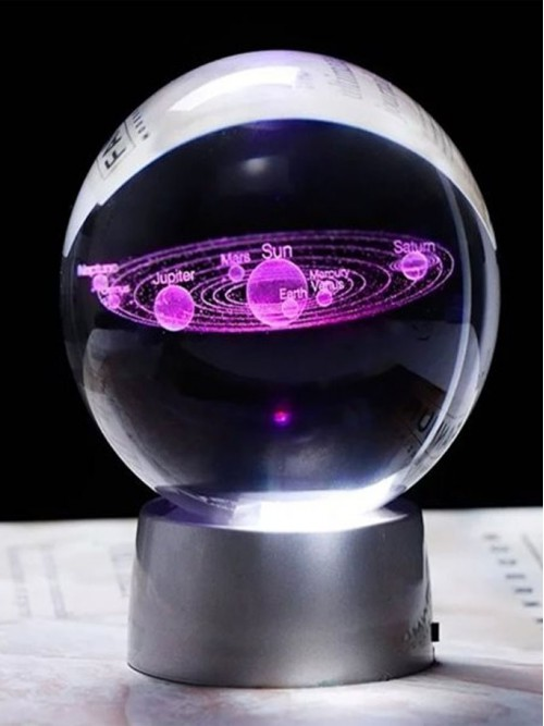 3D Boyutlu Gezegen Tasarımlı Işıklı Cam Küre