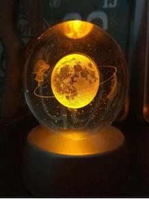 Kristal Satürnlü Kız Tasarımlı Renk Değiştiren Cam Küre