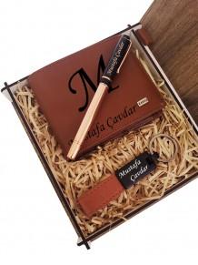 Kişiye Özel Hakiki Deri Cüzdan Kalem Anahtarlık Set
