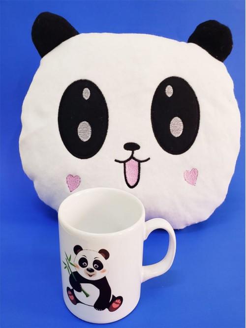 Sevimli Panda Yastık Ve Bardak Seti