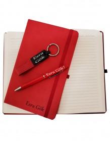 Kişiye Özel Bayana Defter Anahtarlık Ve Kalem Set