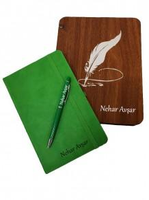 Yeşil Defter Kalem Set Ahşap Kutulu