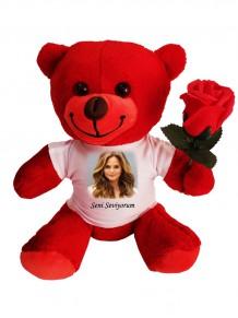 Sevgiliye Özel Resimli Ve Mesajlı Kırmızı Peluş Ayıcık