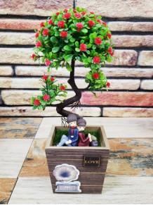 Ağaç Altında Oturan Romantik Sevgili Dekoratif Biblo