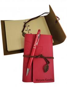Bayana Özel İsimli Deri Defter Ve Touch Pen Dokunmatik Kalem