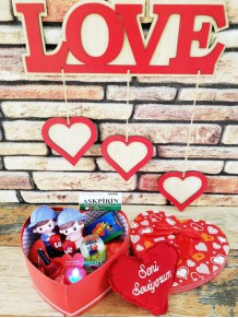 Kalp Kutuda Sevgili Çift Aşk Kutusu