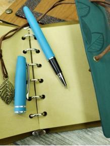 Kişiye Özel Ahşap Kutulu Deri Defter Ve Kalem Seti Mavi Renk
