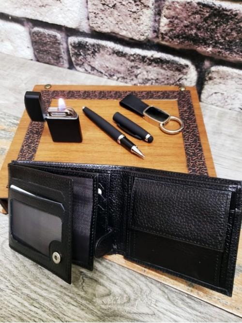 Kişiye Özel Kalemli Cüzdanlı Anahtarlıklı Çakmaklı Ahşap Kutulu Set