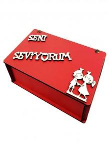 Ahşap Seni Seviyorum Yazılı Romantik Kutu