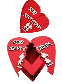 Ahşap Seni Seviyorum Yazılı Kırık Kalp Kutu