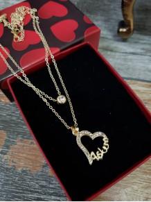 Aşkım Yazılı Kalp Zirkon Taşlı Zamak Kolye