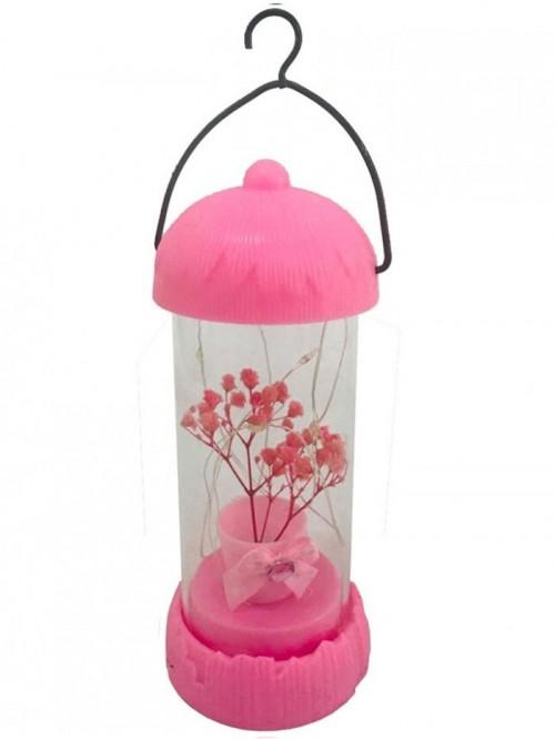 Dekoratif Led Işıklı Fanus İçinde Çiçek