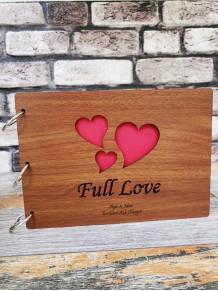 Kişiye Özel Full Love Yazılı Kalpli Ahşap Albüm