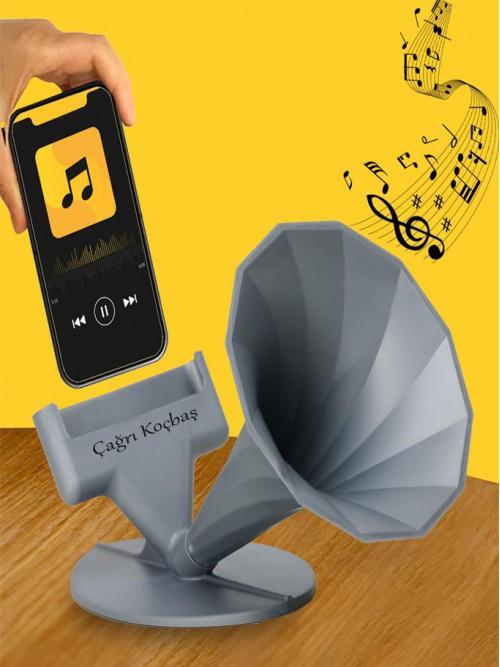 Kişiye Özel Akustik Gramafon Telefon Tutucu Ve Ses Yükseltici Hoparlör