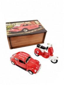 İsme Özel Ahşap Kutu Kırmızı Woswos Kırmızı Vespa Set