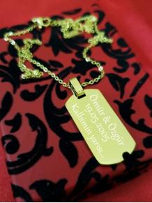 İsme Özel Altın Renk Çelik Künye Kolye