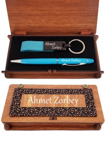 İsme Özel Dokunmatik Kalem Ve Anahtarlık Derili Kutu Seti