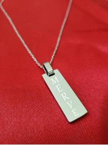 İsme Özel Gümüş Renk Dikdörtgen Çelik Kolye