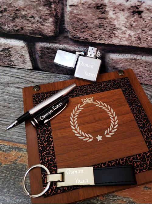 Kişiye Özel Çakmaklı Anahtarlıklı Kalemli Set