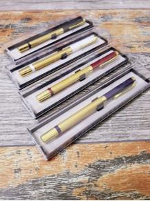 Kişiye Özel Gold Lüks Metal Mavi Kapaklı Roller Kalem Şeffaf Kutulu