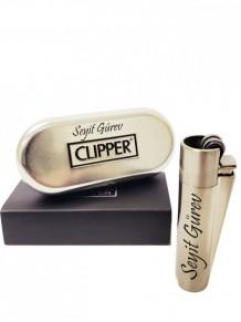 Kişiye Özel Gümüş Renk Clipper Çakmak
