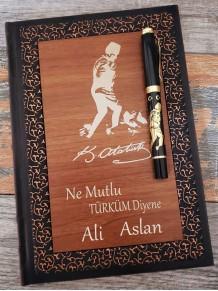 Kişiye Özel Kemal Atatürk İmzalı Kalem Ve Ahşap Deri Defter