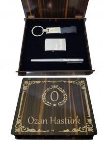 Kişiye Özel Silver Renk Zippo Dolma Kalem Anahtarlık Set