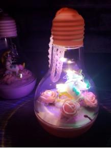 Led Işıklı Unicornlu Ampul Şeklinde Fanus