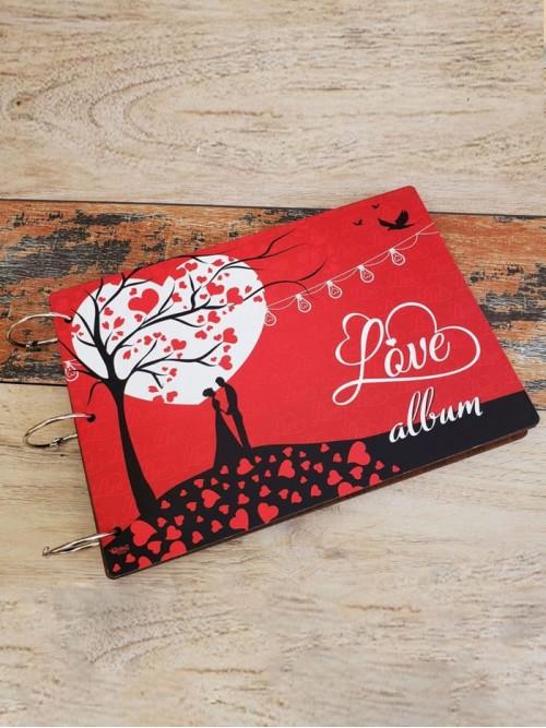 Love Temalı Romantik Ahşap Albüm