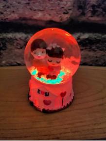 Mini Çift Sevgili Temalı Işıklı Kar Küresi