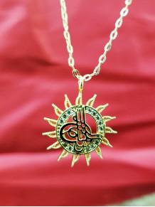 Osmanlı Tuğralı Zirkon Taşlı Gold Renk Kolye