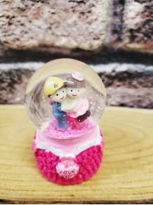 Pembe Mini Sevgililer Temalı Işıklı Kar Küresi