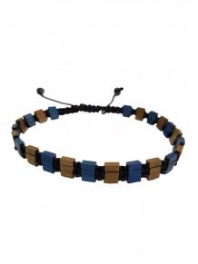 Prizma Tasarım Mavi Kahverengi Hematit Doğal Taş Bileklik