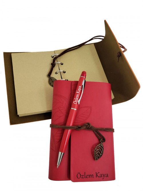 Sevgiliye Özel İsimli Deri Hatıra Defteri Ve Dokunmatik Kalem