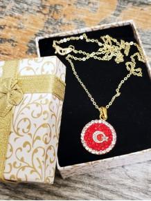 Türk Bayraklı Altın Kaplama Kristal Taşlı Kolye