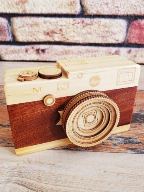 Ahşap Fotoğraf Makinesi Görünümlü Kurmalı Müzik Kutusu