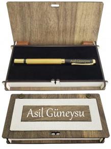 Erkeğe İsimli Gold Siyah Kapaklı Roller Kalem