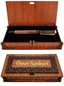 İsme Özel Bakır Renk Besmele Kabartmalı Roller Kalem