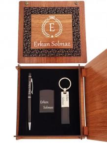 İsme Özel Metal Dokunmatik Kalem Çakmak Ve Anahtarlık Aksesuar Seti