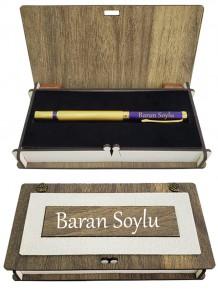 Kişiye Özel Gold Lacivert Kapaklı Roller Kalem