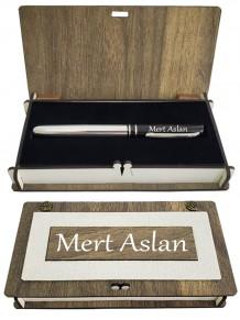 Kişiye Özel İsimli Gümüş Renk Roller Kalem