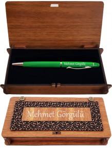 Kişiye Özel Yeşil Dokunmatik Kalem Ve Derili Ahşap Kutu