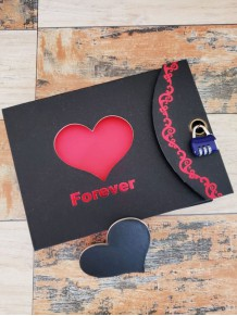 Forever Yazılı Kalpli Şifreli Kilitli Albüm