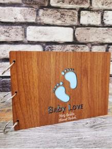 Kişiye Özel Baby Love Yazılı Ahşap Albüm