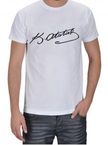 Atatürk İmzalı Beyaz Erkek Tişört