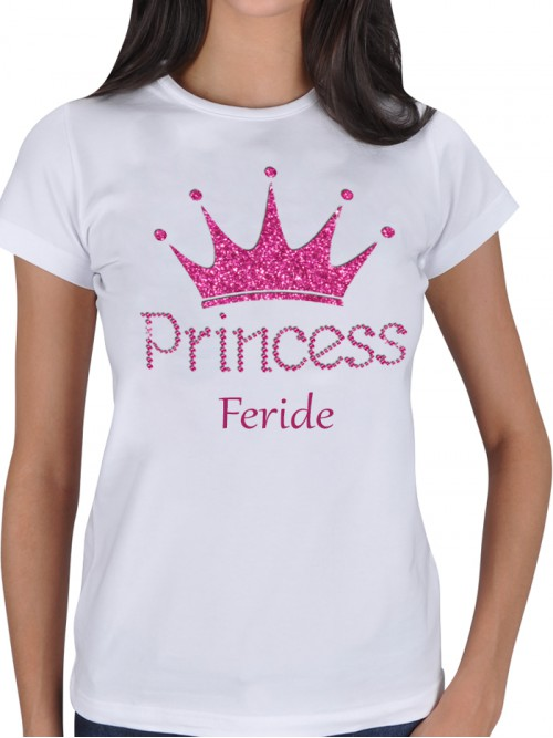Prenses Tasarımlı İsimli Beyaz Bayan Tişört