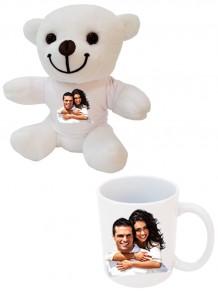 Sevgiliye Özel Resimli Beyaz Peluş Ayı Ve Kupa Bardak Set